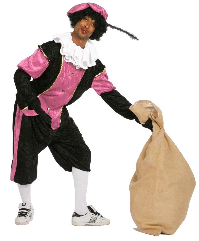 Budget Zwarte piet kostuum zwart/roze voor volwassenen
