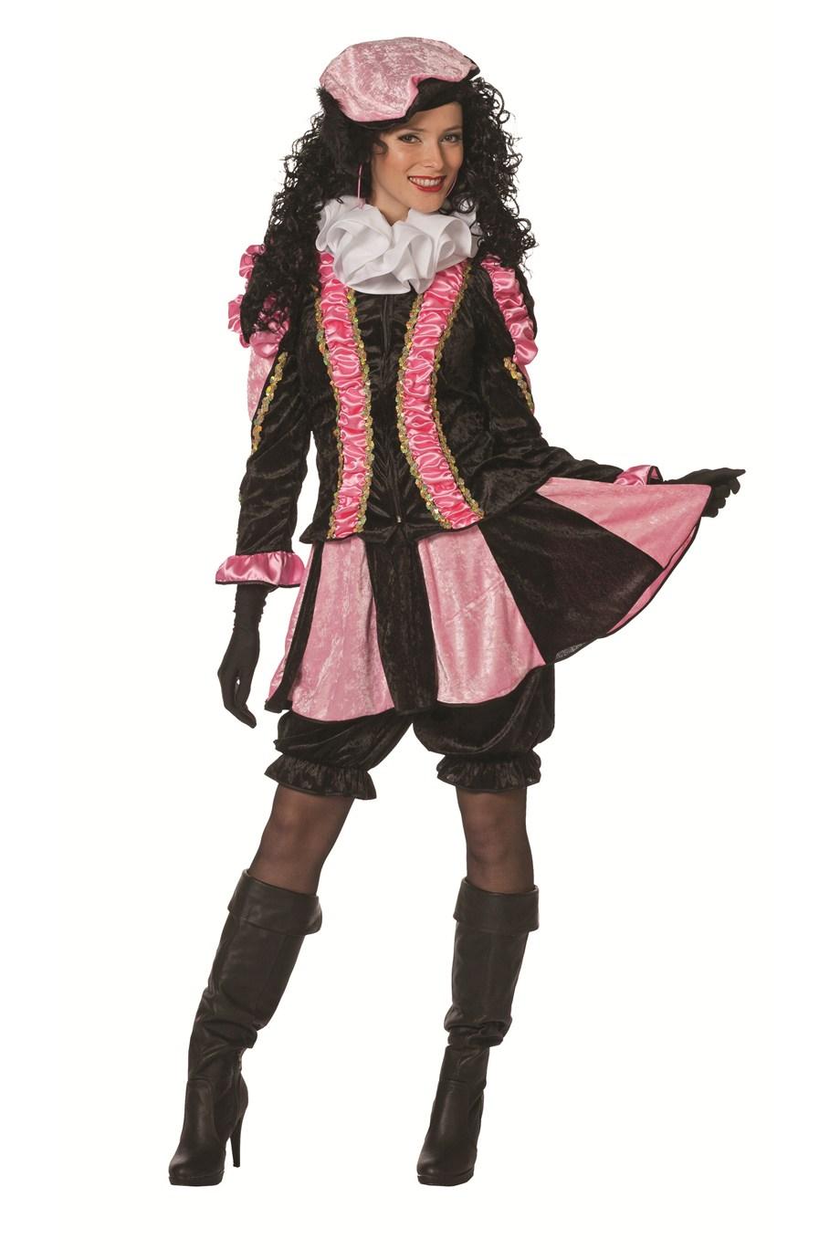 Zwarte piet kostuum roze/zwart voor dame