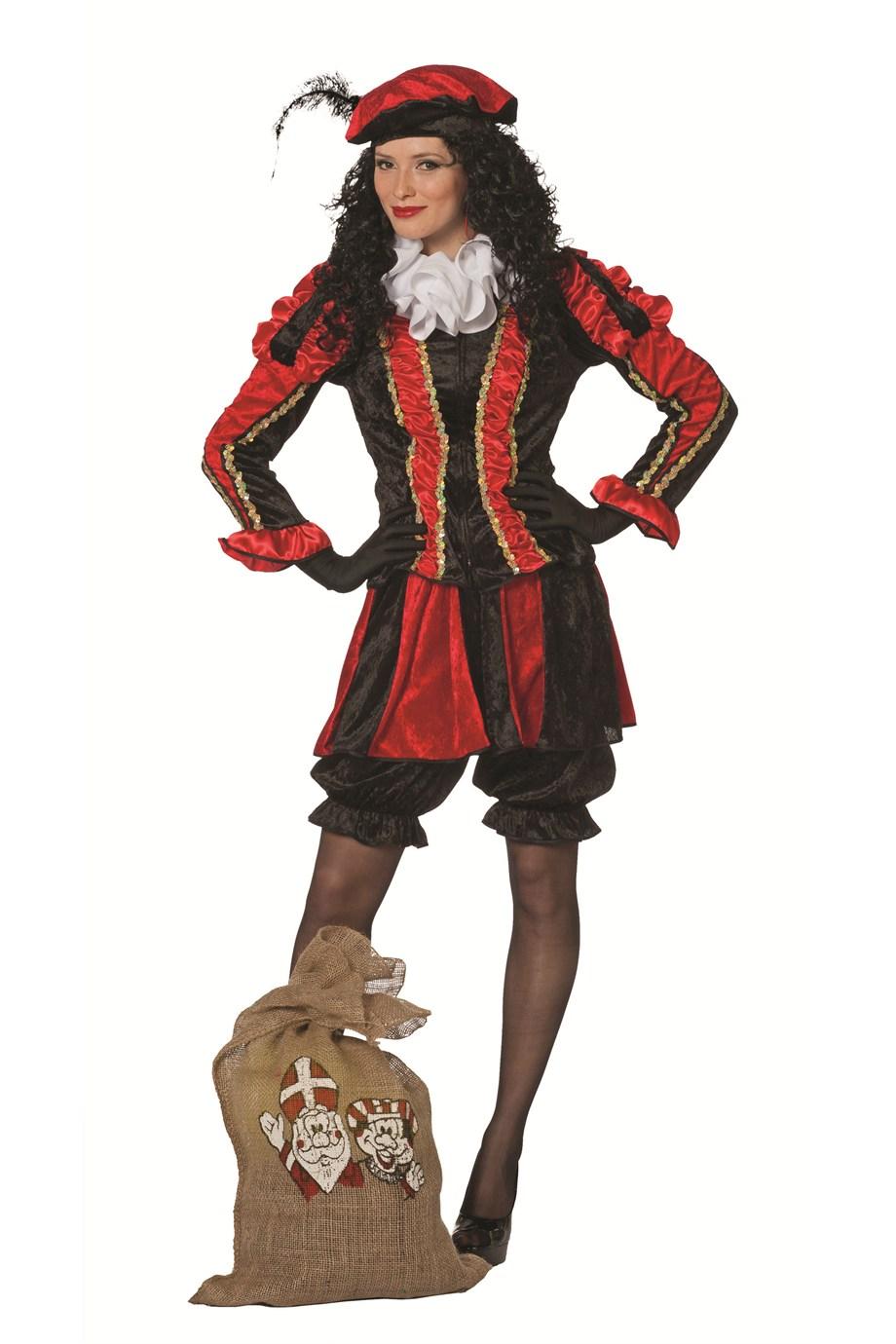 Zwarte piet kostuum rood/zwart voor dame