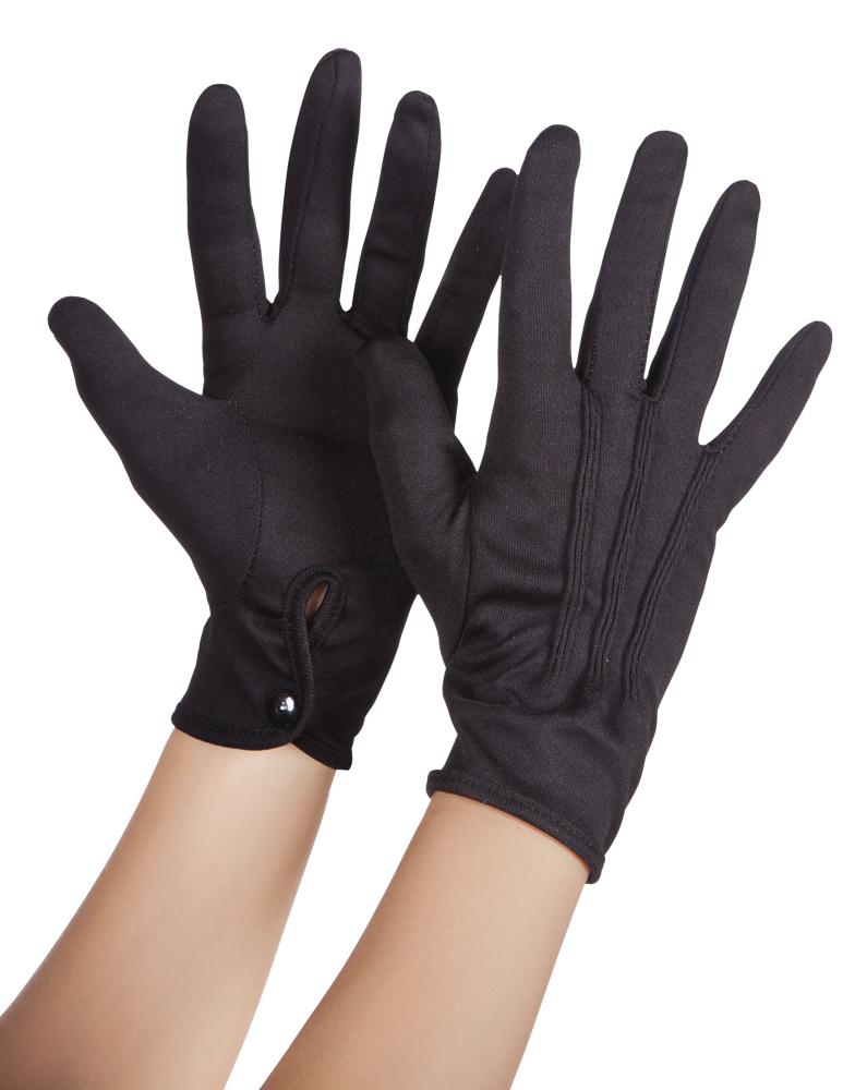 Handschoenen pols basic met drukknop zwart