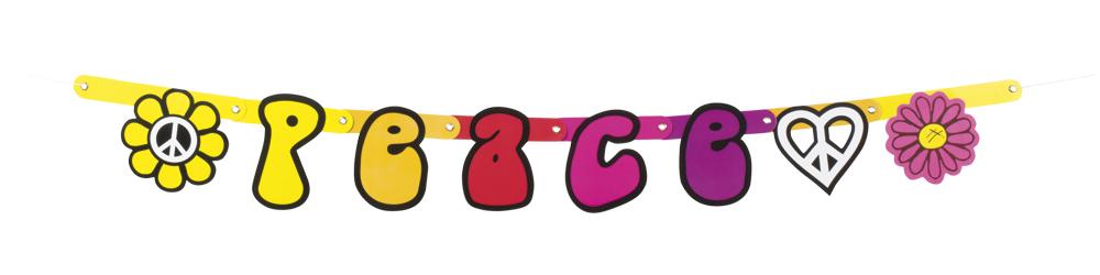 Kartonnen letterslinger Peace (95 cm)