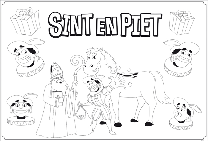 Placemats SintΠet (om zelf in te kleuren) set 6 stuks