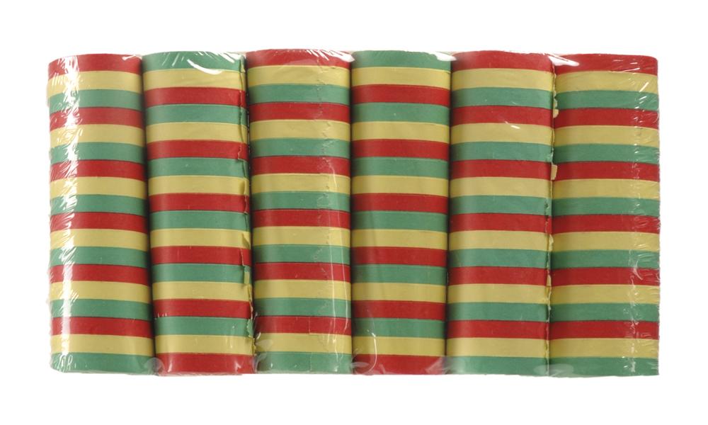 Set 6 Rollen serpentines rood/geel/groen (4m) brandvertragend