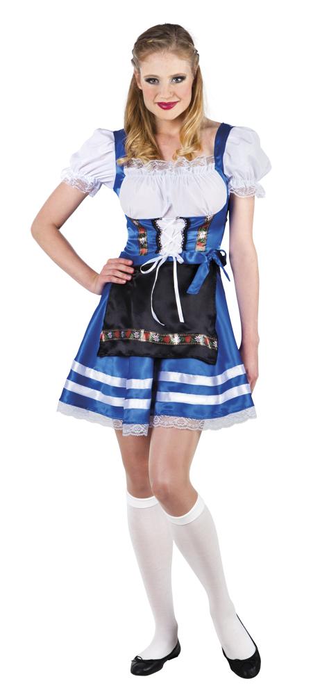 Helena blauw tiroler jurkje voor dame