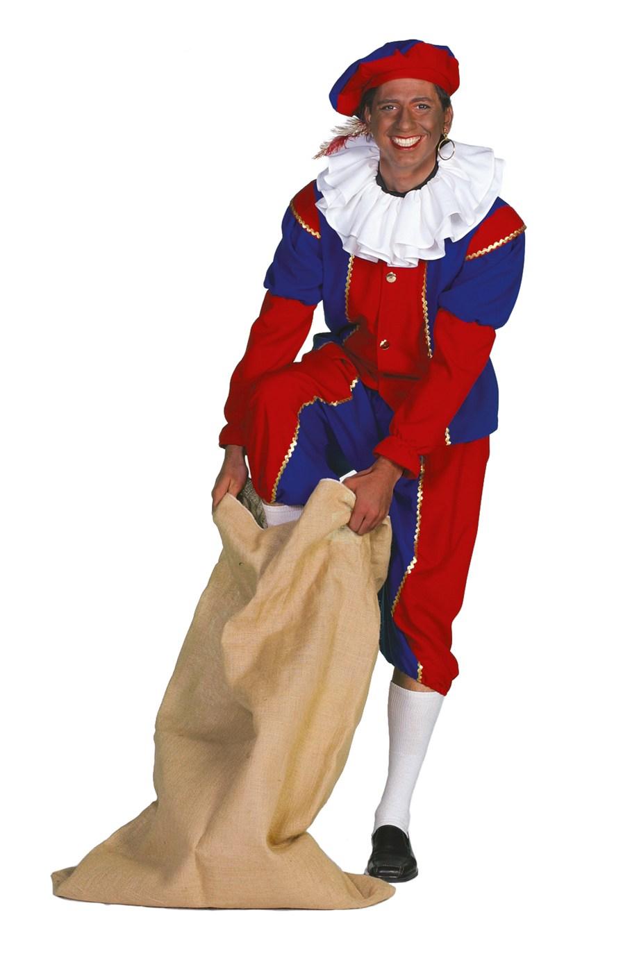 Zwarte piet kostuum rood/blauw voor heer