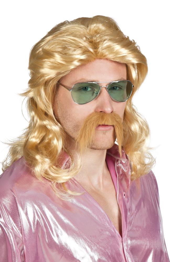 Pruik Barry blond met snor
