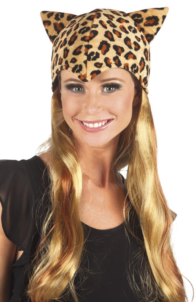 Pruik lang haar Sweet cheetah met muts