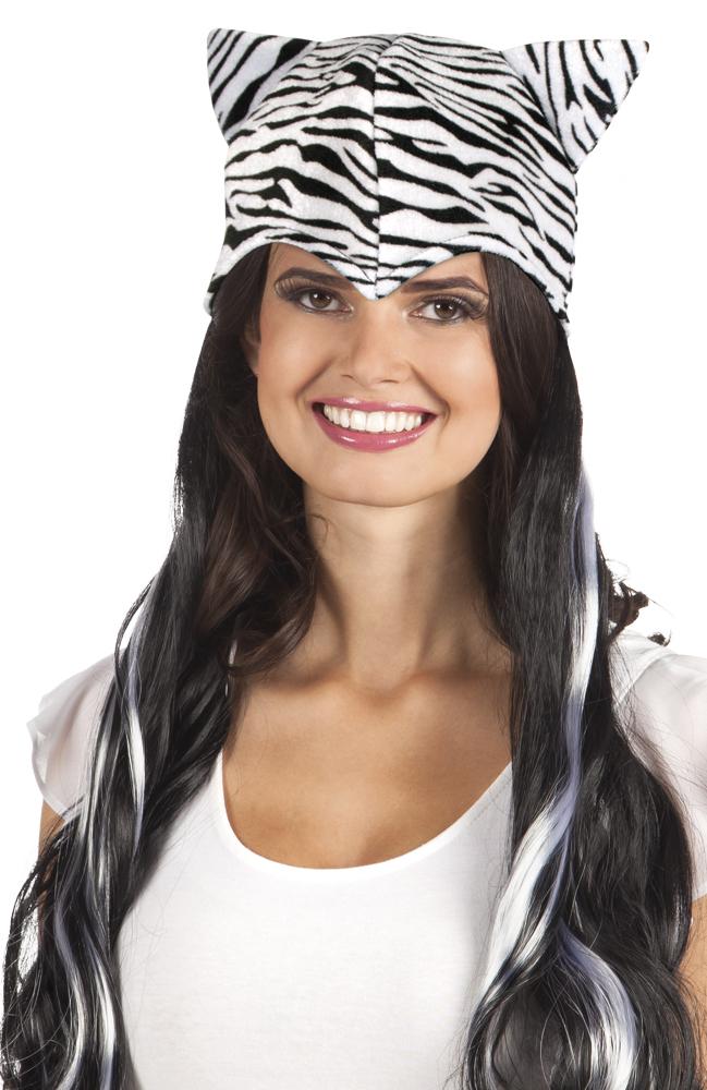 Pruik lang haar Sweet zebra met muts