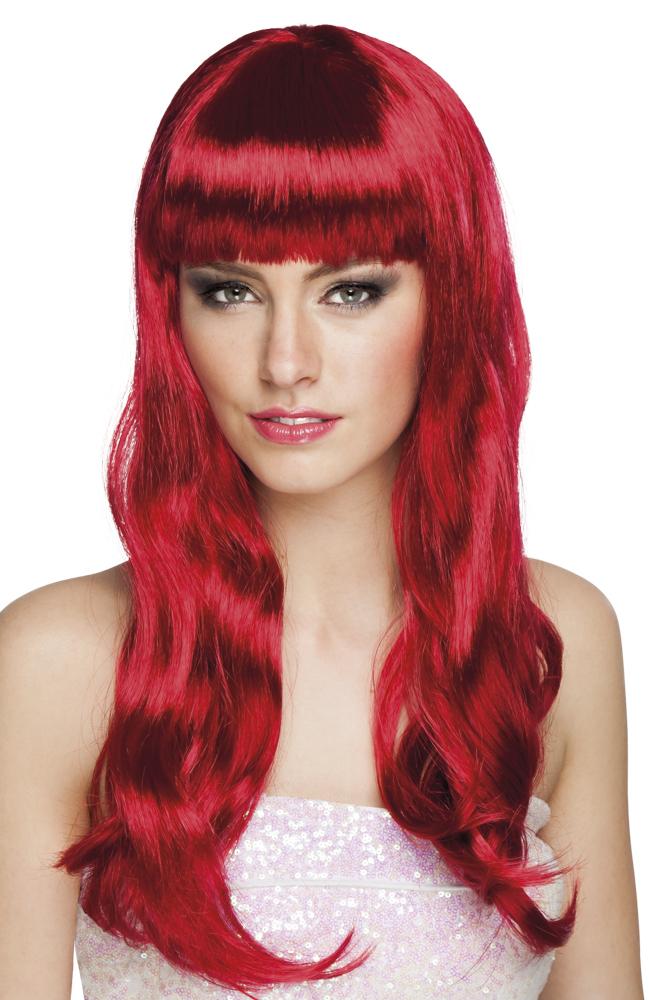 Pruik Chique lang robijn rood