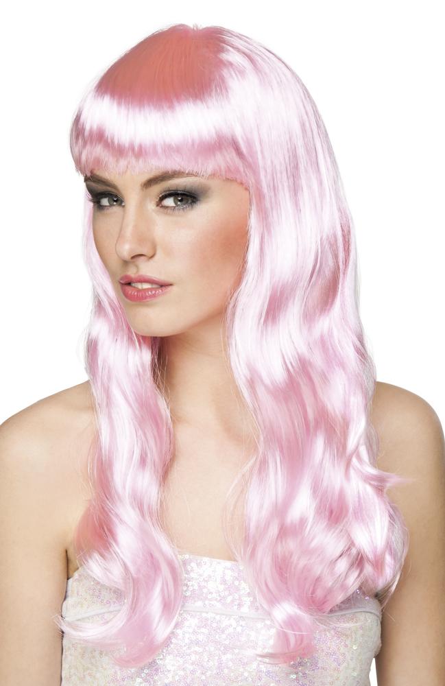 Pruik Chique lang licht roze
