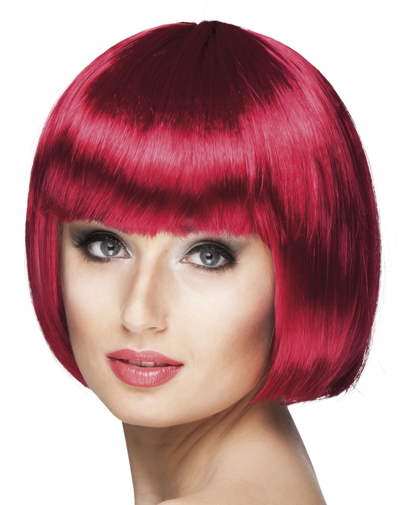Pruik Cabaret bobline robijn rood