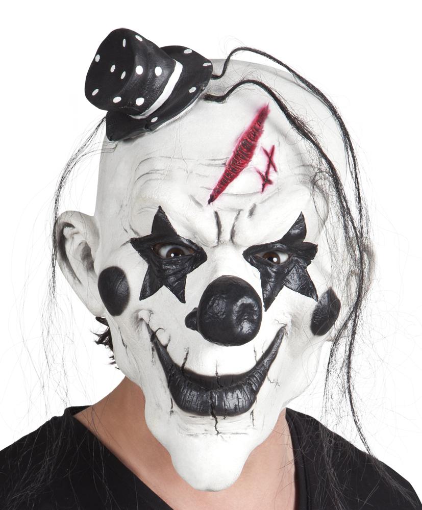 Latex masker Psycho clown met haar