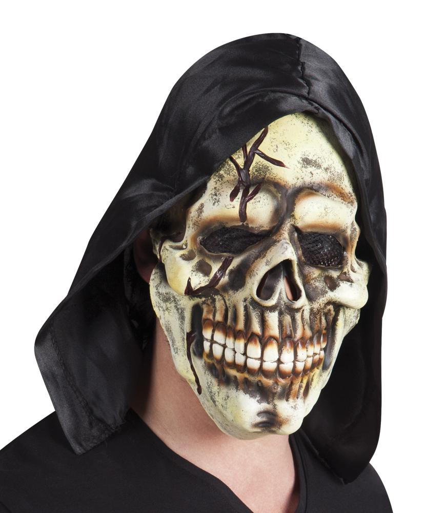 Latex masker Doodshoofd met kap