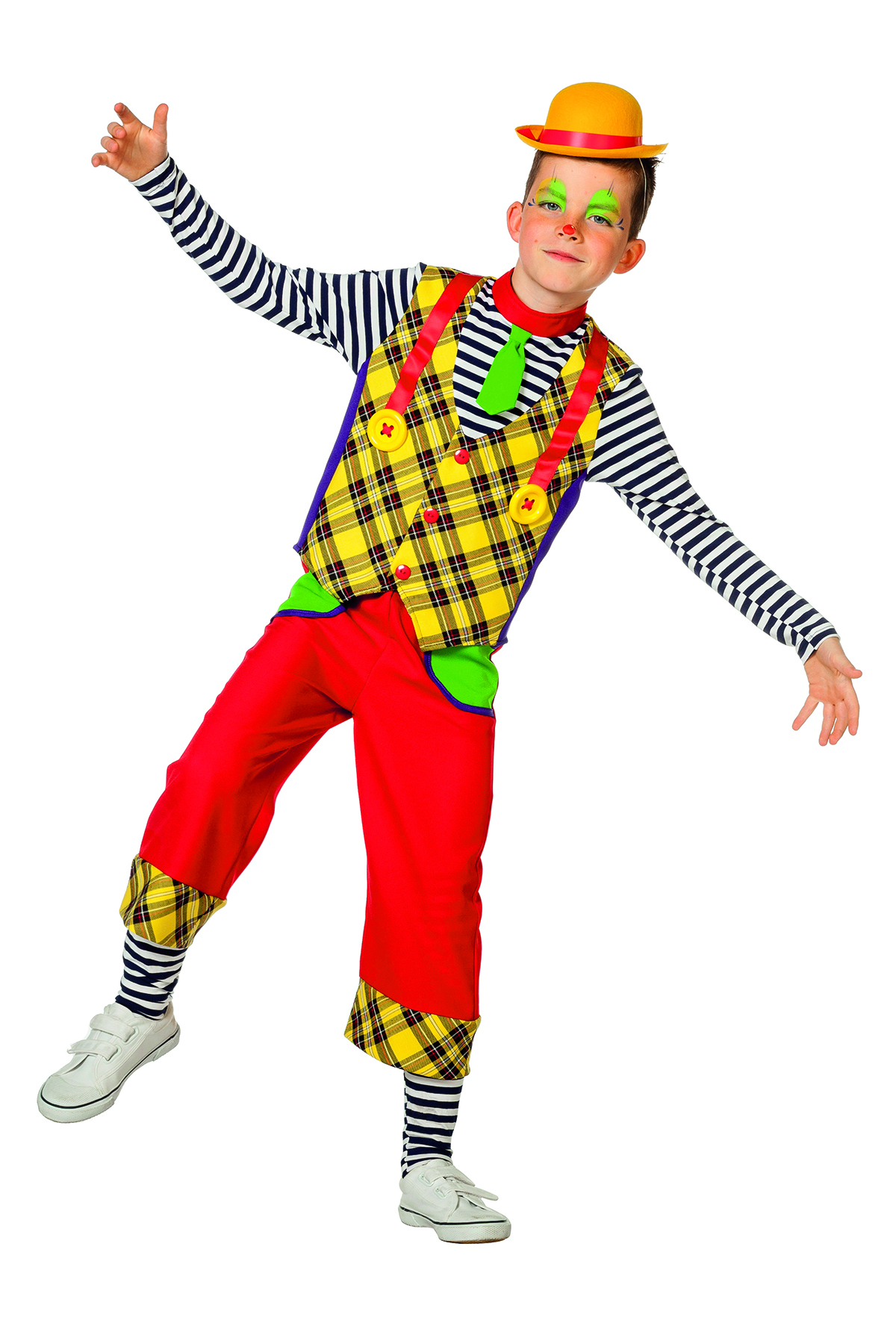 Clown jongen paars/geel/rood