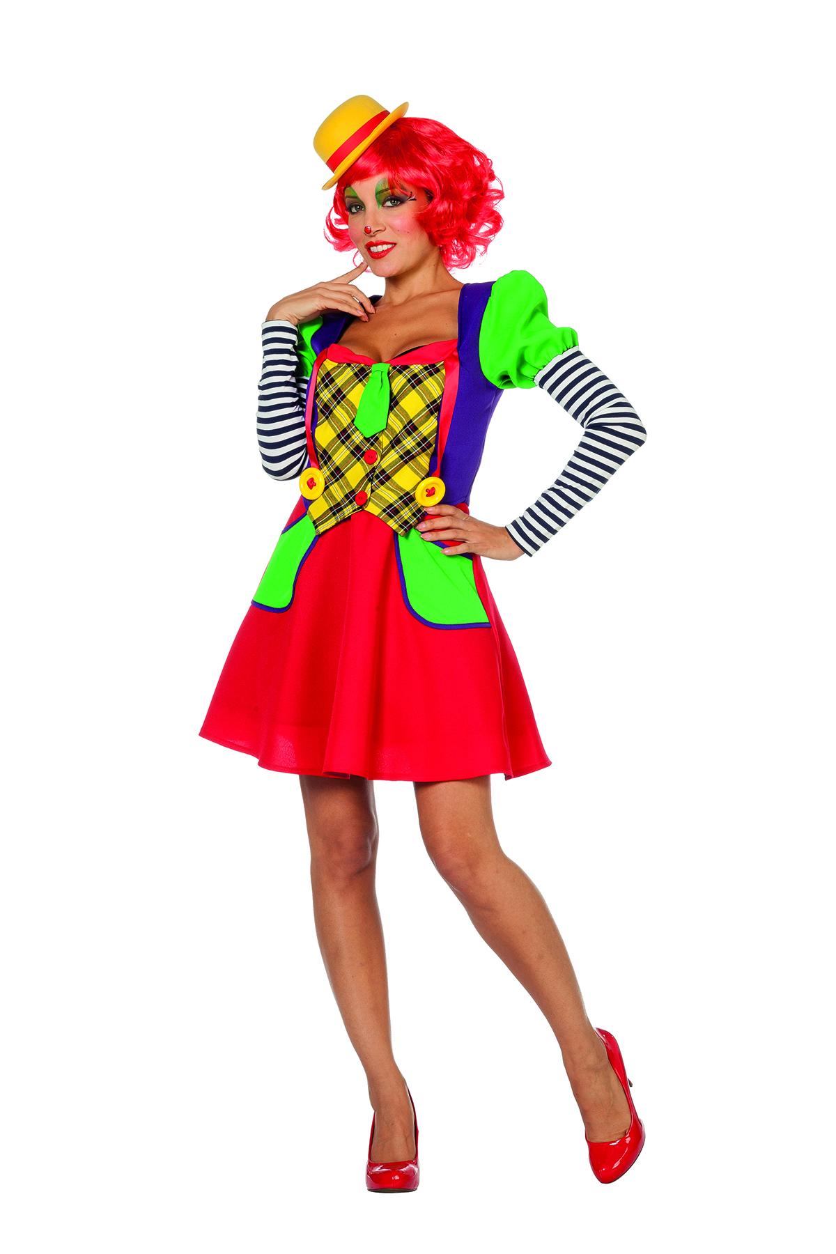 Clown dame paars/geel/rood