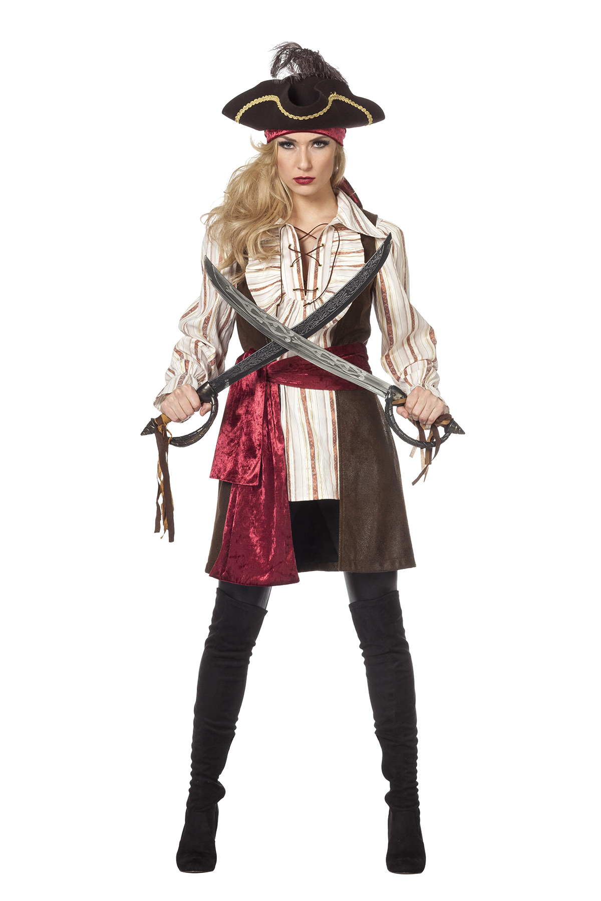 Piraten blouse met vest en ceintuur Bruin