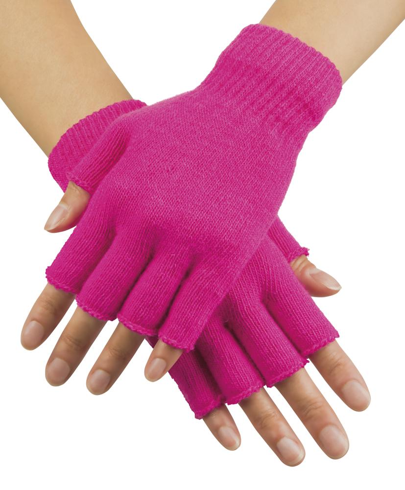 Handschoenen vingerloos gebreid uni neon-pink