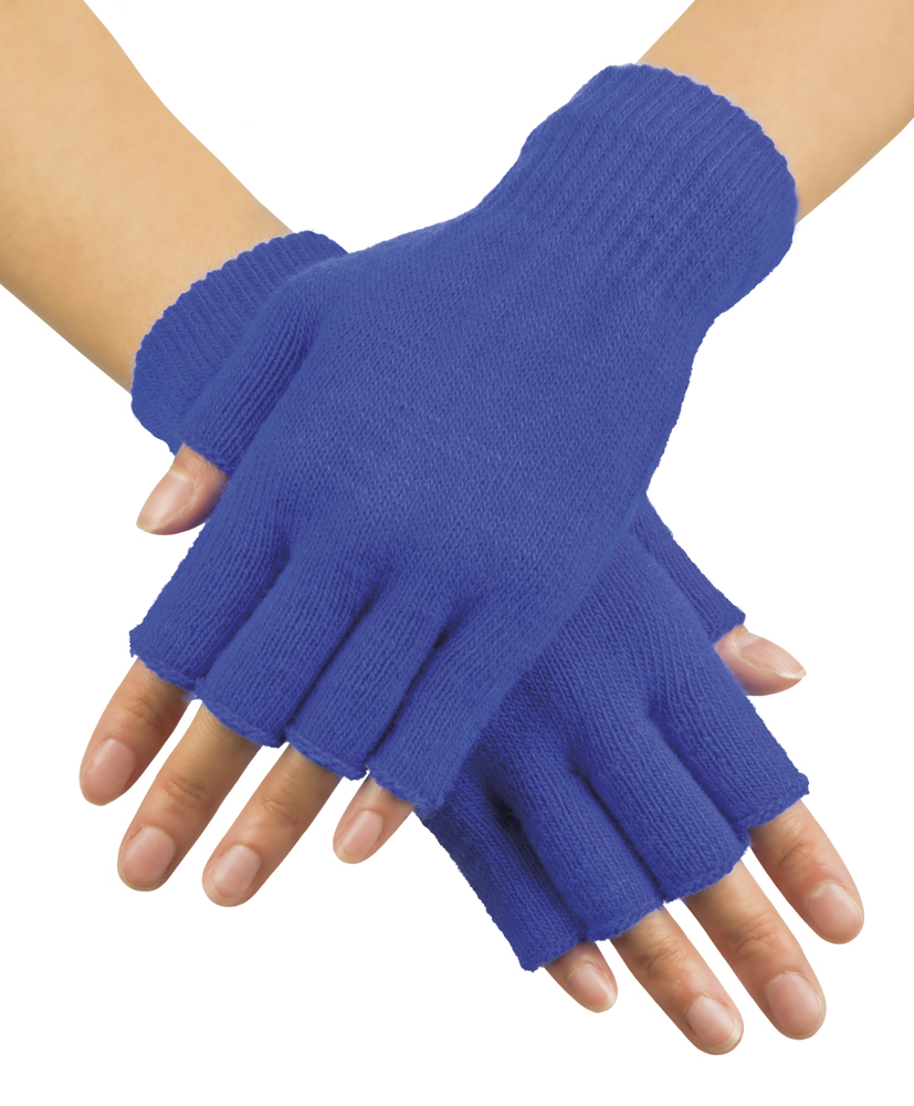 Handschoenen vingerloos gebreid uni blauw