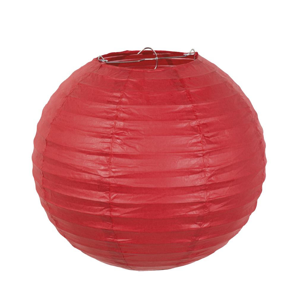 Papieren lampion rood met draadstalen frame (25 cm)