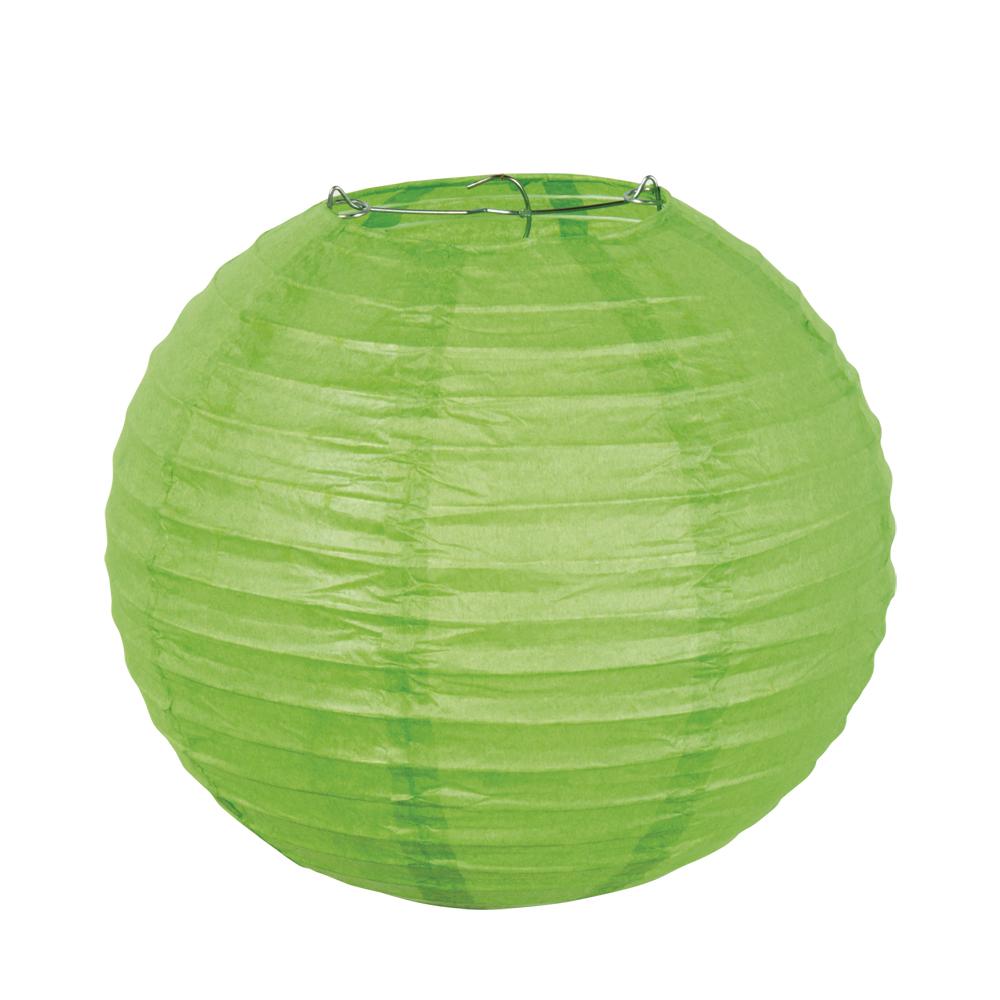 Papieren lampion groen met draadstalen frame (25 cm)