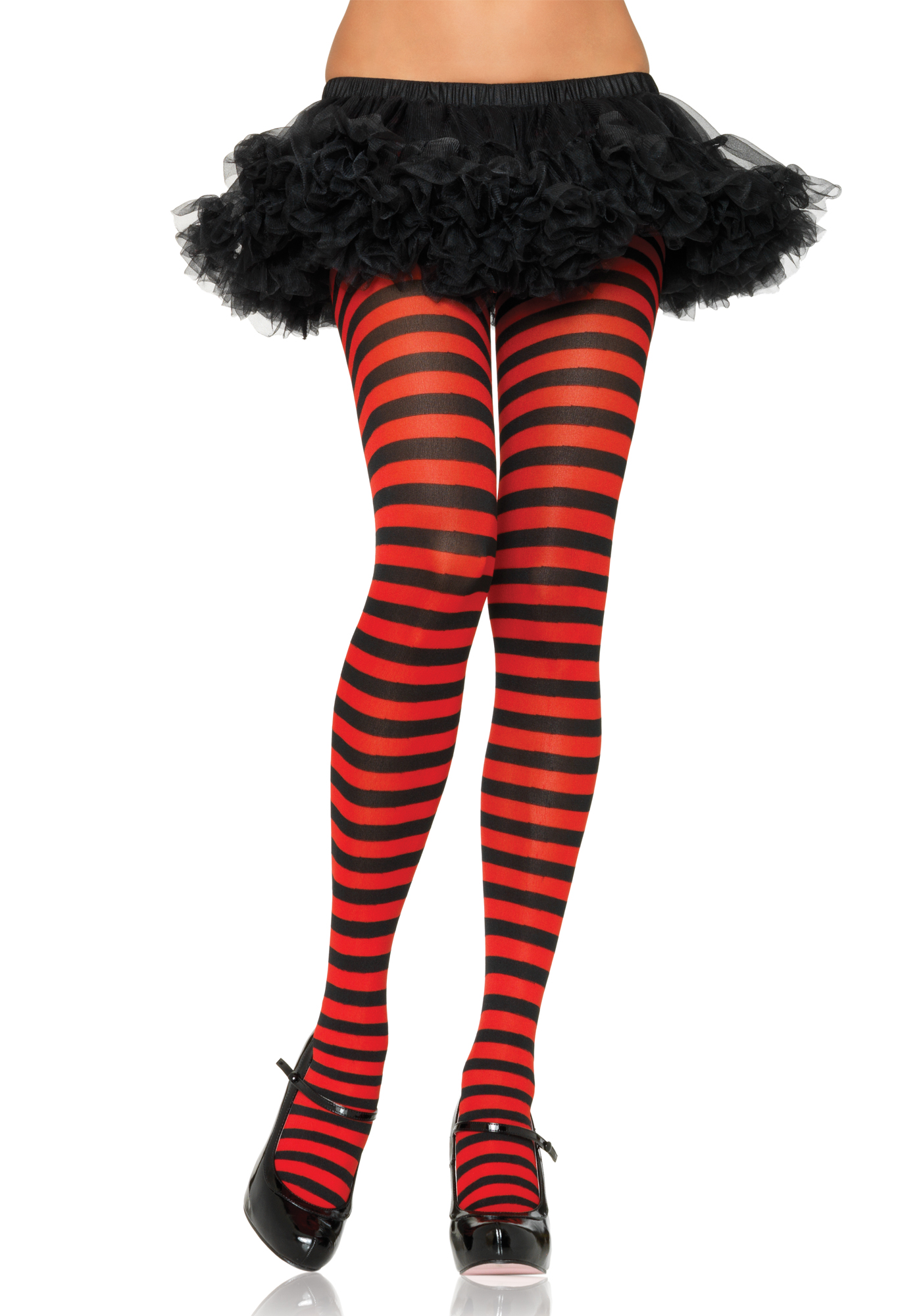 Nylon Stripe Tights zwart/rood one size