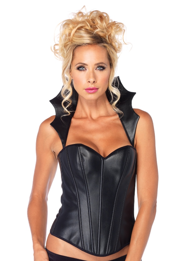 Faux Leather Corset Zwart