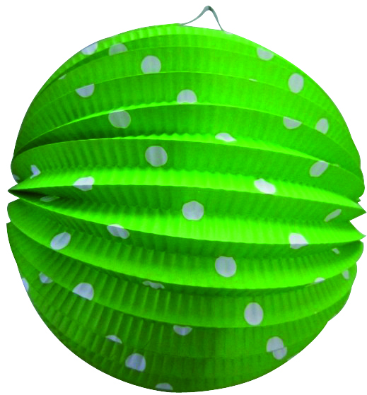 Bollampion 23cm groen met witte stippen