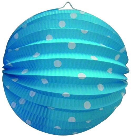Bollampion 23cm blauw met witte stippen