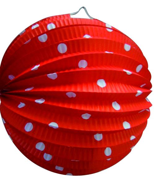 Bollampion 23cm rood met witte stippen