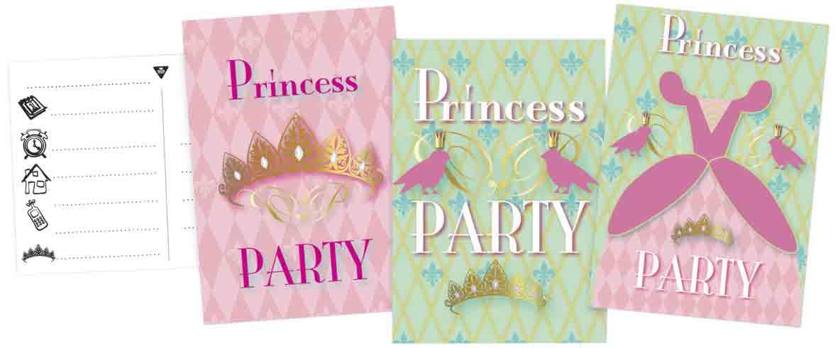 Uitnodigingskaarten 6 stuks princess