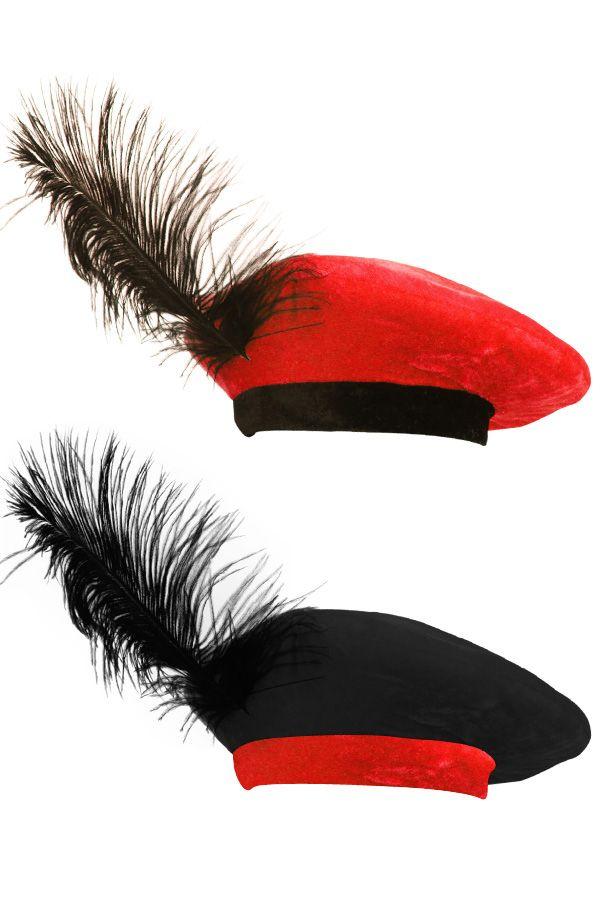 Piet barret zwart/rood of rood/zwartmet veer ( kind )
