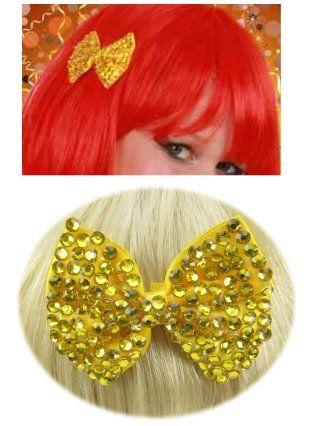Haarklem strikje bling bling en steentjes goud