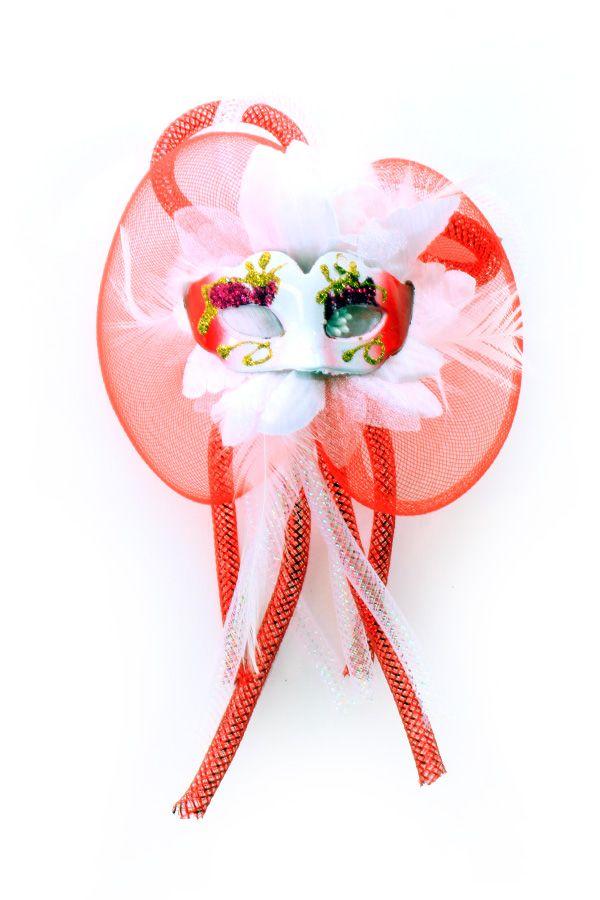 Broche bloem tubes en oogmasker rood/wit