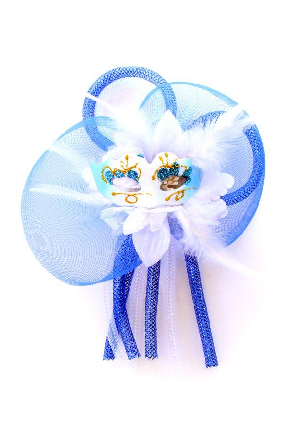 Broche bloem tubes en oogmasker blauw/wit