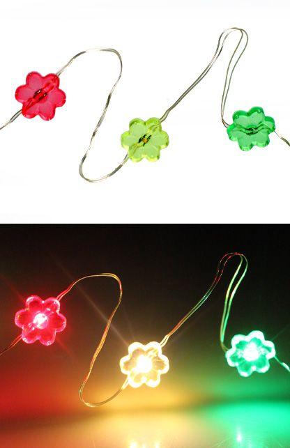 Ledverlichting snoer bloemetjes rood/geel/groen 20 lamps