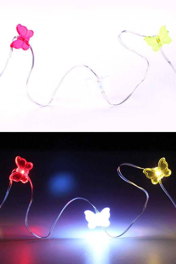 Ledverlichting snoer vlinders rood/wit/geel 20 lamps