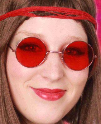 Uilenbril met rood glas