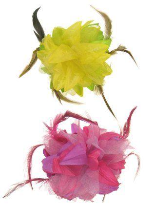 Bloemen haarklem roze/paars of geel/groen