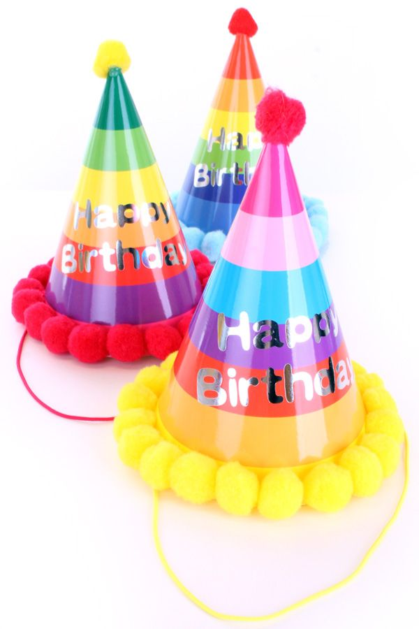 Feesthoedje multicolour Happy Birthday per stuk