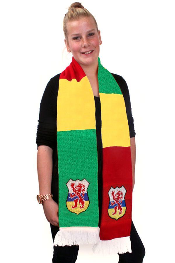 Sjaal fijn gebreid rood-geel-groen met wapen limburg 180x16cm