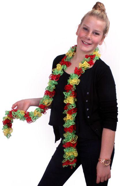 Sjawl opengewerkt rood/geel/groen 150 cm