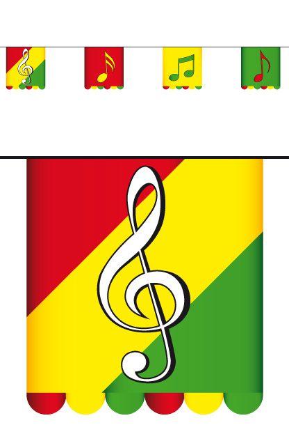 Vlaggenlijn karton rd/gl/gr 3 mtr dubbelz muzieknoten 16x13