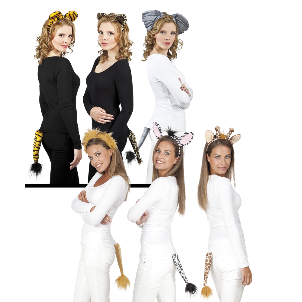Set Safari (tiara en staart) diverse modellen