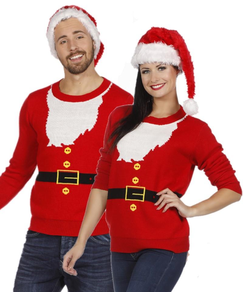 Foute kersttrui rood Santa met baard voor volwassenen
