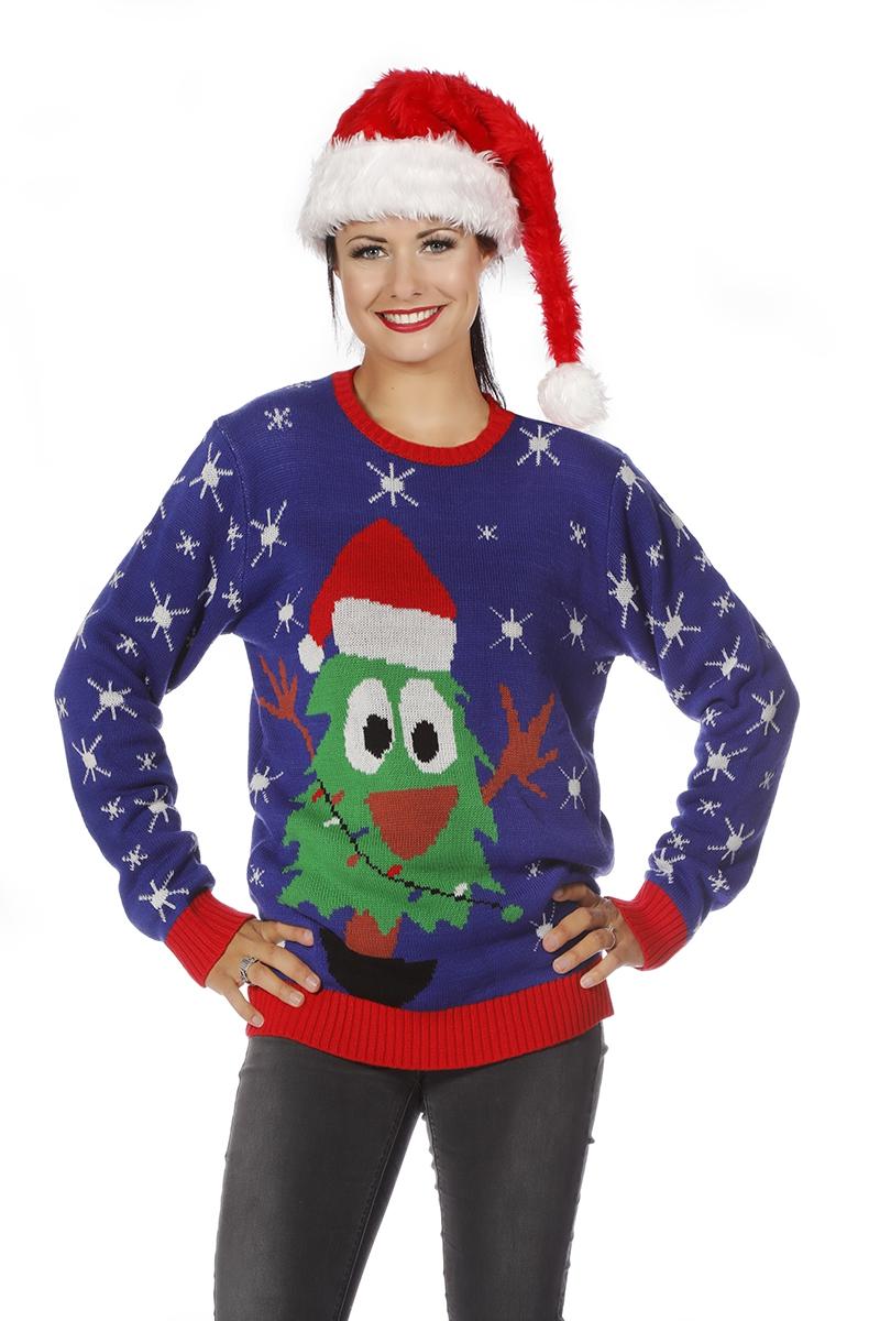 Foute Kersttrui Volwassenen.Foute Kersttrui Blauw Met Kerstboom Voor Volwassenen Heren