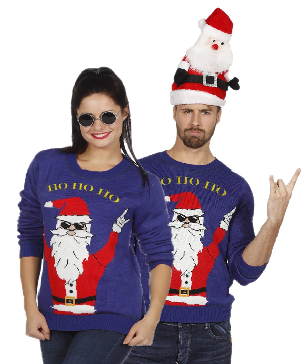 Foute kersttrui blauw rocking Santa voor volwassenen