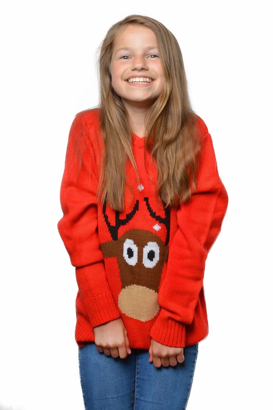 Foute kersttrui rood rendier voor kind
