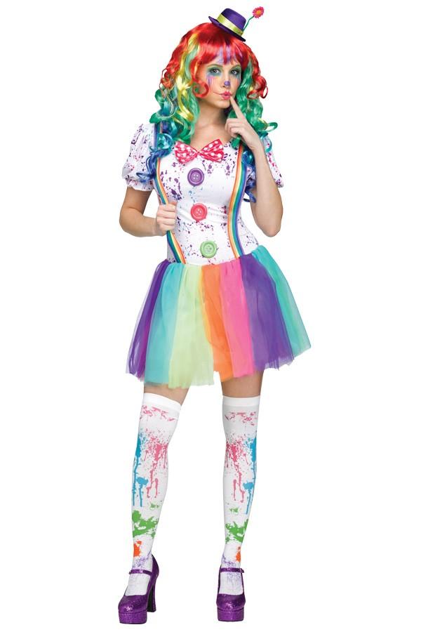 Clown multi colour voor dame