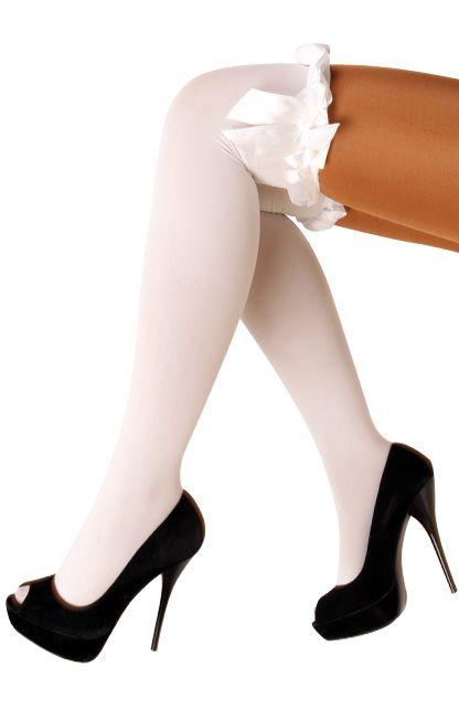 Britney kousen wit met strik wit microfibre