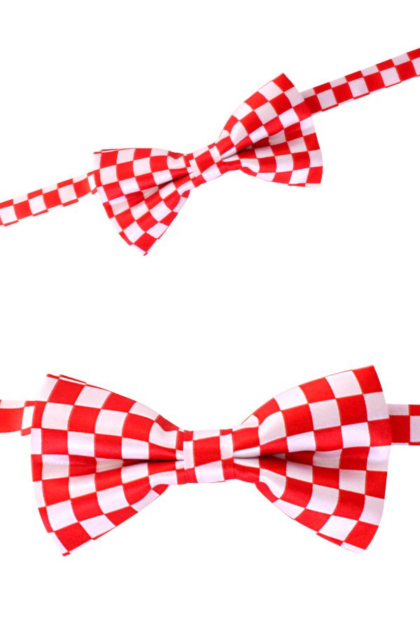 Luxe strik brabant rood/wit geblokt